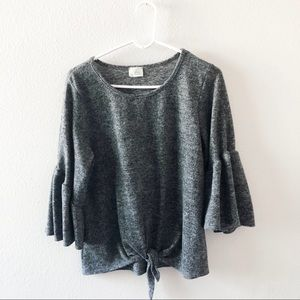 Caution to the wind grey peplum blouse